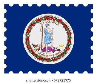 Virginia Flag Postage Stamp, 3d illustration on white background