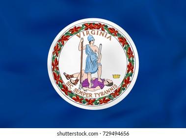 Virginia waving flag. Virginia state flag background texture. Raster copy.