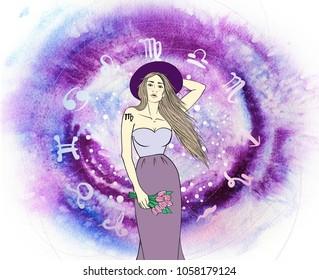 Virgo woman on asto background