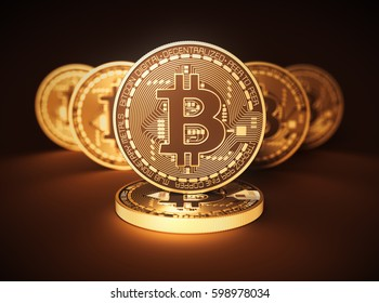 Virtual Coins Bitcoins On Brown Background. 3D Illustration.