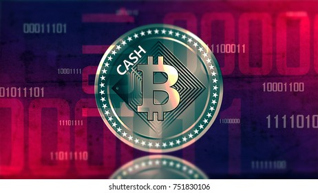 Virtual cryptocurrency Bitcoin Cash sign in digital cyberspace 3D illustration