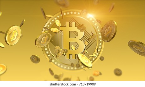 Virtual cryptocurrency Bitcoins falling coins close up on blurred background. 3D illustration finance and banking concept.