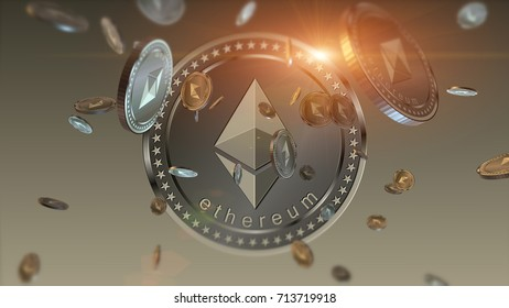 Virtual cryptocurrency Ethereum falling coins close up on blurred background. 3D illustration finance and banking concept.