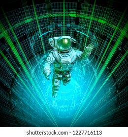 Virtual data core astronaut / 3D illustration of astronaut in space suit floating up through glowing virtual data