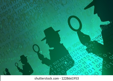 Virtual digits abstract 3d illustration, shadow figures with magnifying glass oversight, horizontal