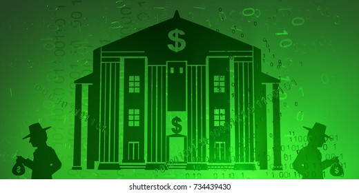 Virtual digits abstract 3d illustration, bank with shadow figures with cash, horizontal