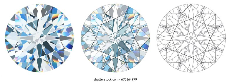 Virtual facets pattern of inner refraction of the standard round brilliant cut diamond, close-up top view isolated on white background. 3D rendering illustration