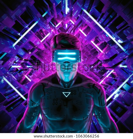 Virtual gamer man / 3D illustration of male figure entering glowing virtual game environment