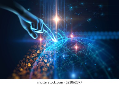 virtual human hand 3dillustration on business and learning technology  background represent learning process.