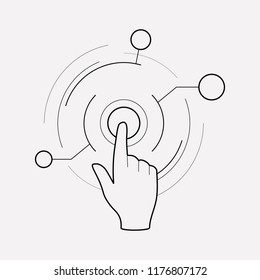 Virtual interactive control icon line element.  illustration of virtual interactive control icon line isolated on clean background for your web mobile app logo design.