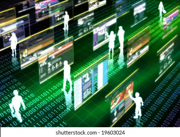 Virtual life illustrated with people doing activity in futuristic virtual world.