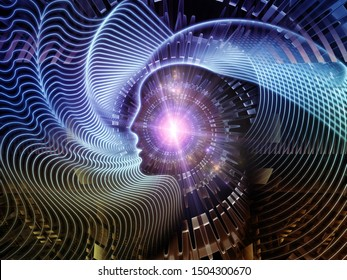 Virtual Mind series. Concept illustration of multiple human profiles in abstract space on subject of education, science and modern technologies.