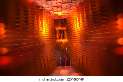 Virtual portal. Scientific breakthrough in data transfer. Quantum processor of the future.  Hadron Collider, abstract 3d illustration