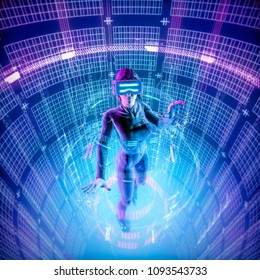 Virtual reality datasphere female user / 3D illustration of female figure in virtual gear working in glowing cyber environment