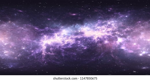 Virtual reality environment 360 HDRI map. Space equirectangular projection, spherical panorama. Space nebula with stars. 3d illustration