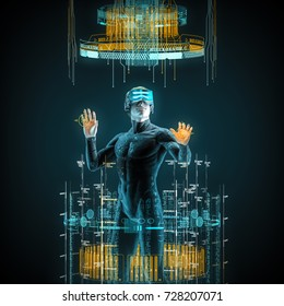 Virtual reality male user / 3D illustration of male figure in virtual gear working in cyberspace