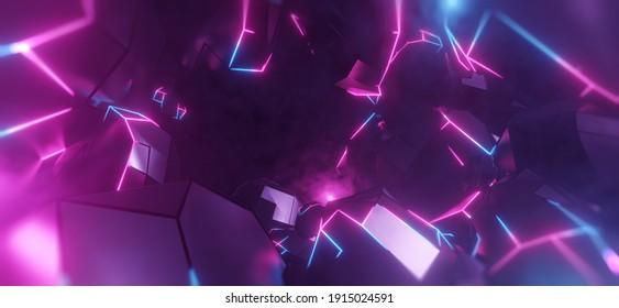 Virtual Reality Space Welt in einem Block, Würfel-Effekt. Video Game Retro Asteroid Feld. violette, rosa und blaue Lichter runden eine digitale Landschaft ab. 3D-Darstellung