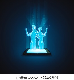 Virtual reality tablet couple / 3D illustration of holographic man and woman wearing virtual reality glasses rising from tablet computer