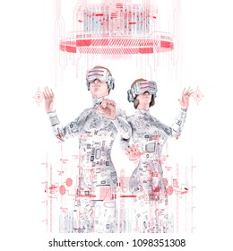 Virtual reality team white / 3D illustration of male and female figures in virtual gear working together in bright white virtual environment