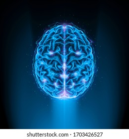 Virtual reality user mind / 3D illustration of glowing artificial intelligence human brain