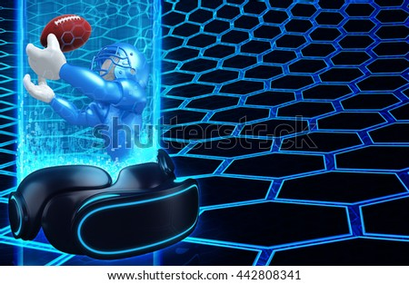 Virtual Reality VR Football 3 D Illustration Stock Illustration