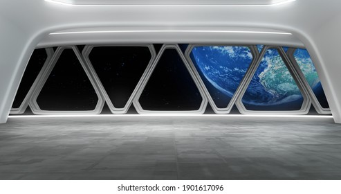 Virtual set backdrop on an space trip, around earth. ideal for tv shows, commercials or events. A 3D rendering, suitable on VR tracking system sets, with green screen