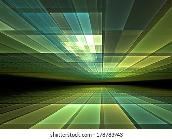 Virtual space: abstract graphic for subjects such as cyberspace, virtual reality and information technology