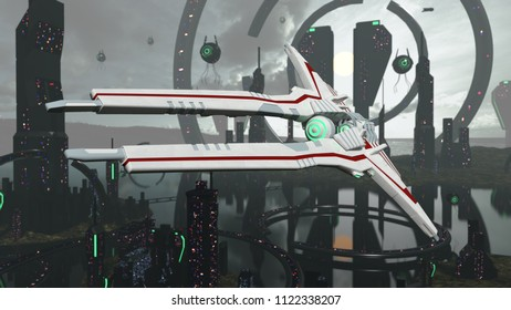 Virtual spacescene with architecture and spaceship. 3D rendering
