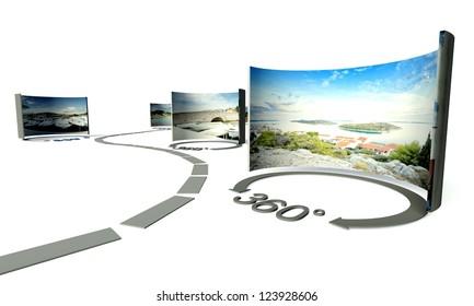 Virtual tour of 360 degrees panoramas