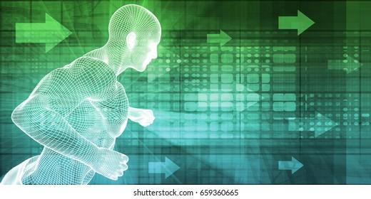 Virtual Trainer for Fitness Exercise Concept as Wallpaper 3d Illustration Render