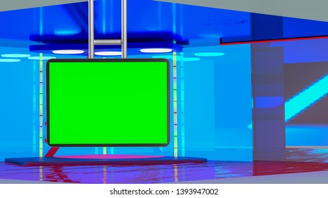 Virtual TV news broadcast studio set background with suspended greenscreen, 3D rendering