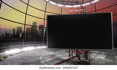Virtual TV show city backdrop, with an empty screen. Ideal for virtual tracking system sets, with green screen. (3D rendering)