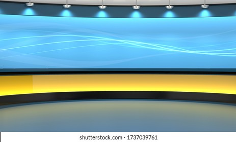 Virtual TV Studio 3D Rendering