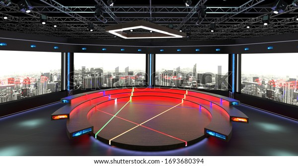 Virtual TV Studio Chat Set 2. 3d Rendering. Virtual set studio for chroma footage. wherever you want it, With a simple setup, a few square feet of space, and Virtual Set, you can transform any locatio