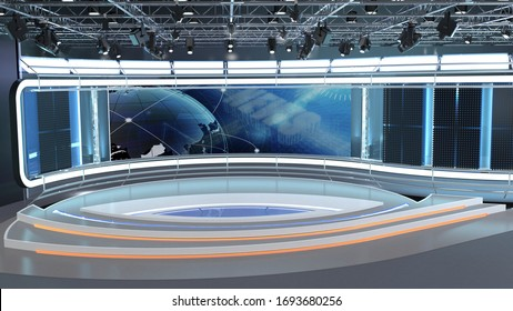 Virtual TV Studio News Set 35. 3d Rendering. Virtual set studio for chroma footage. wherever you want it, With a simple setup, a few square feet of space, and Virtual Set, you can transform any locati