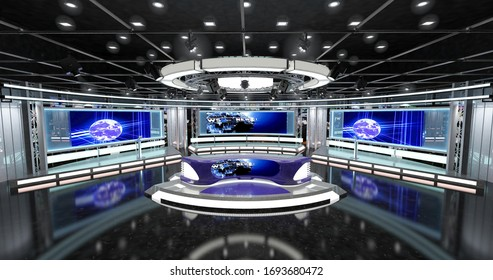 Virtual TV Studio News Set 1. 3d Rendering. Virtual set studio for chroma footage. wherever you want it, With a simple setup, a few square feet of space, and Virtual Set, you can transform any locatio