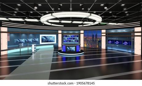 Virtual TV Studio News Set 27. Green screen background. 3d Rendering.