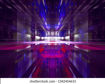 Virtuall reality concept background in blue and purple colors. Abstract computer-generated 3d illustration. Glowing portal or hall with glass walls. For web design, banners, covers.