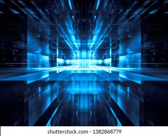 Virtuall reality or sci fi concept background. Abstract computer-generated 3d illustration. Glowing portal or hall with glass walls, reflection and rays burst. For web design, banners, covers.