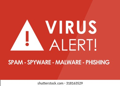 VIRUS Alert concept - white letters and triangle with exclamation mark