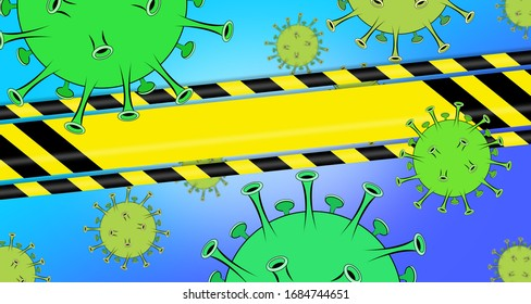 Virus Background with copy space on warning tape
