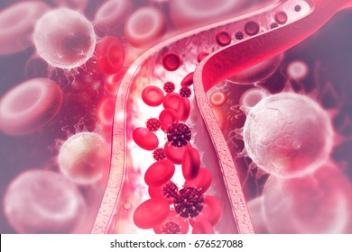 Virus in bloodstream3d illustration