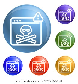 Virus computer danger icons set 6 color isolated on white background