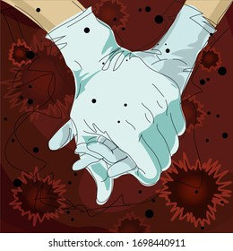 Virus Covid-19 love together power protection concept illustration with hands in medical gloves