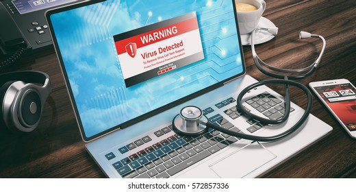 Virus detected text alert on a laptop computer screen and a stethoscope. 3d illustration