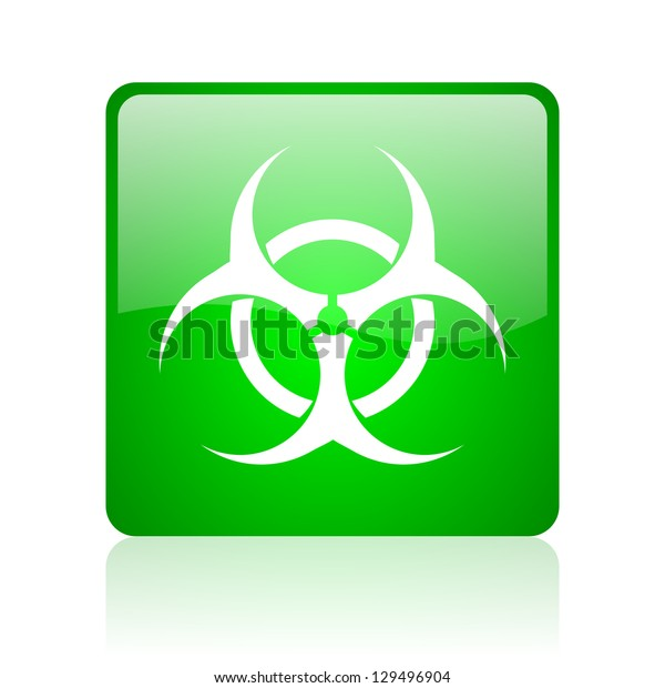 virus green square web icon on white background