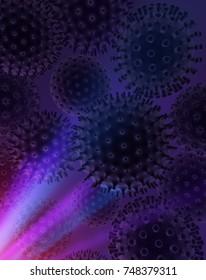 Virus microscopic spheres 3d illustration, dark glow vertical background