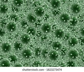 Viruses tileable background texture  3d illustration.