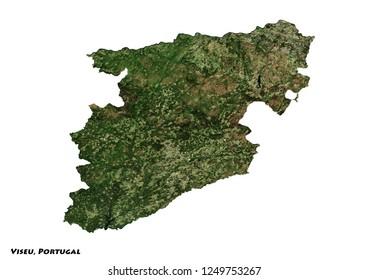 Viseu, Portugal Map (3D illustration)