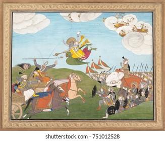VISHNU AS VARAHA, THE BOAR AVATAR, SLAYS BANASUR, A DEMON GENERAL, 19th c., Hindu, painting. Indian ink and watercolor painting of Vishnu, decapitating the Demon leaders with his jewel discus. Varaha